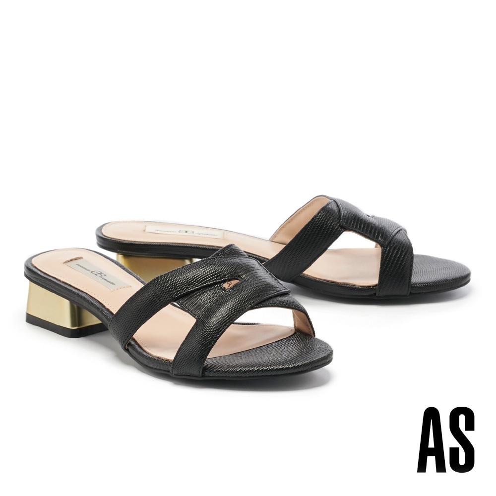 拖鞋 AS 簡約時髦交叉剪裁全真皮低跟拖鞋-黑
