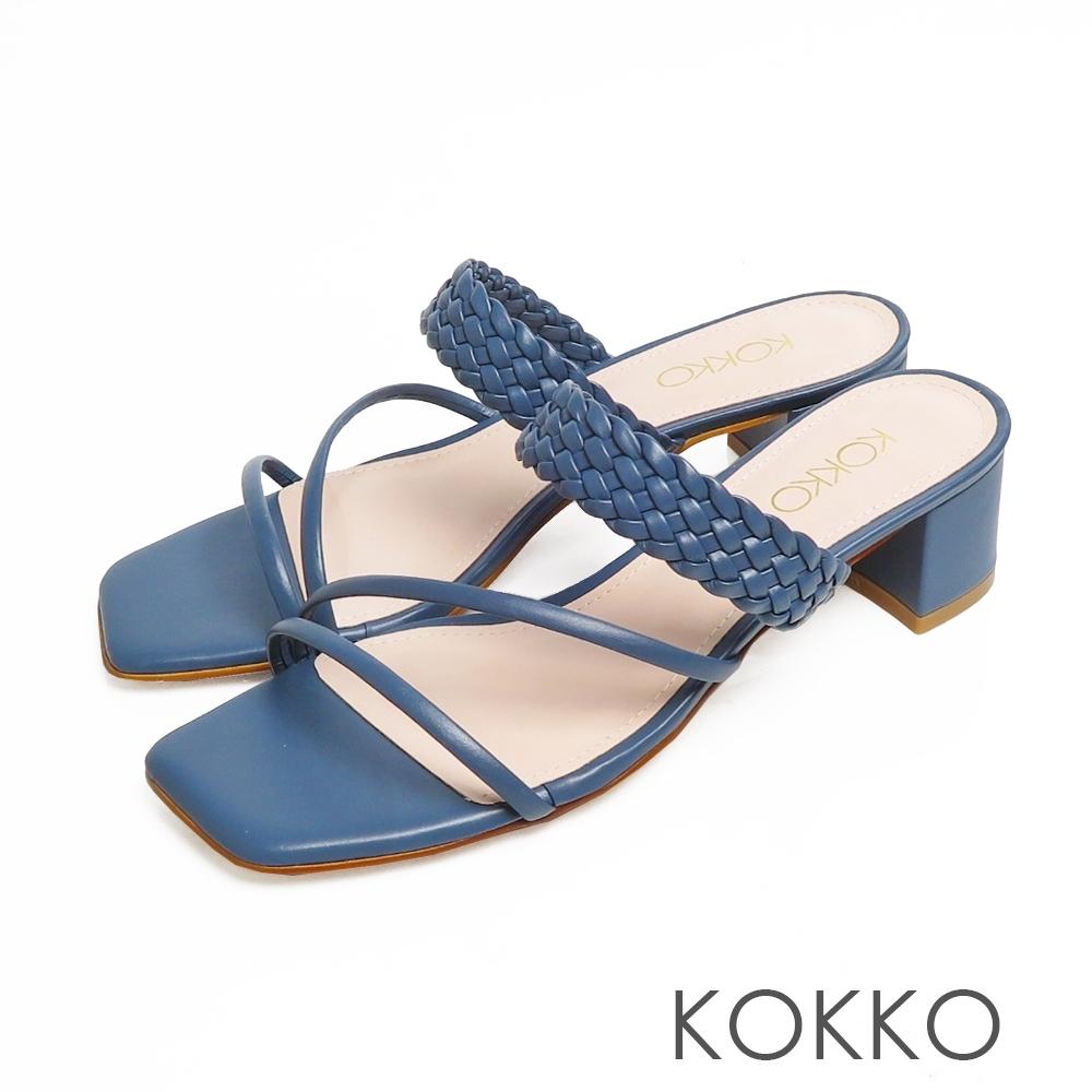 KOKKO時髦方頭細帶編織牛皮粗跟涼拖鞋經典藍