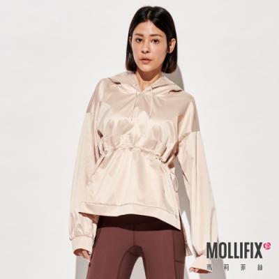 Mollifix 瑪莉菲絲 造型剪裁前口袋連帽上衣 (卡其)