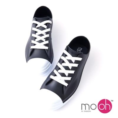 mo.oh 低筒綁帶防水帆布鞋雨鞋-黑色
