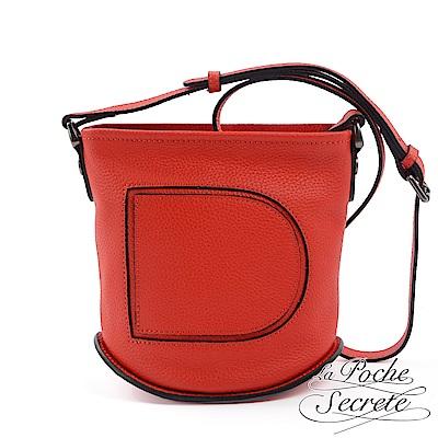 La Poche Secrete 側背包 真皮大D鉚釘水桶包-魅力紅