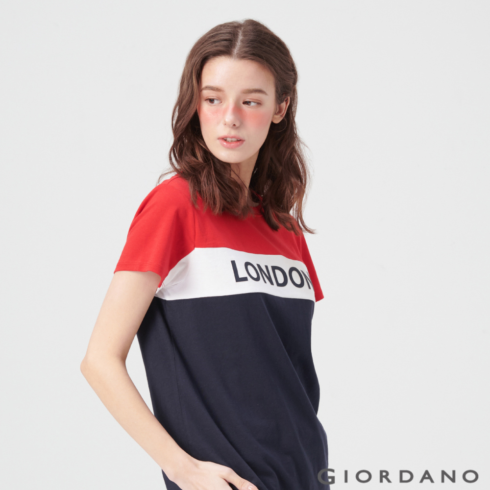 GIORDANO 女裝UNION JACK系列短袖T恤-03 高貴紅/標誌海軍藍
