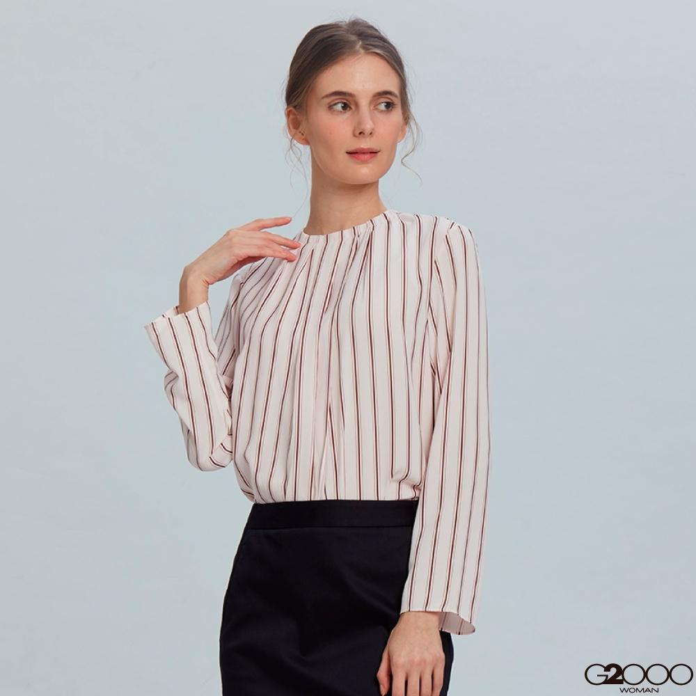 G2000條紋長袖休閒上衣-粉色