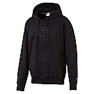 PUMA-男性流行系列Downtown寬版長厚連帽T恤-黑色-亞規