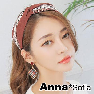 【滿額再7折】AnnaSofia 薩爾織帶璇結 韓式寬髮箍(茵紅系)