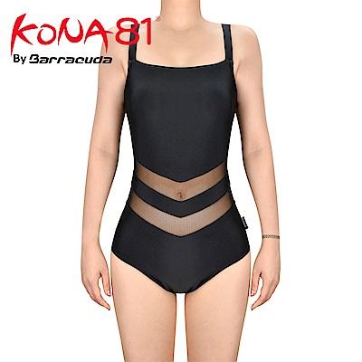 酷吶81 V字型網紗運動抗UV連身泳裝 KONA81 GLBT W 16 黑