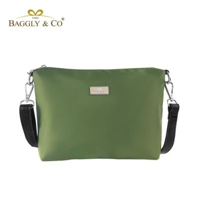 【BAGGLY&CO】輕量防潑水尼龍真皮背帶側背包(綠色)