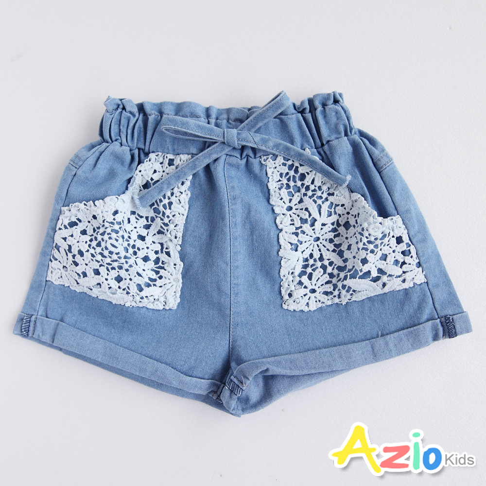 Azio Kids 短褲 蕾絲造型口袋綁帶鬆緊牛仔短褲(藍)