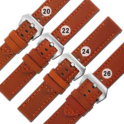 Watchband / 各品牌通用 百搭 復刻 厚實柔軟 加厚牛皮錶帶-咖啡橘
