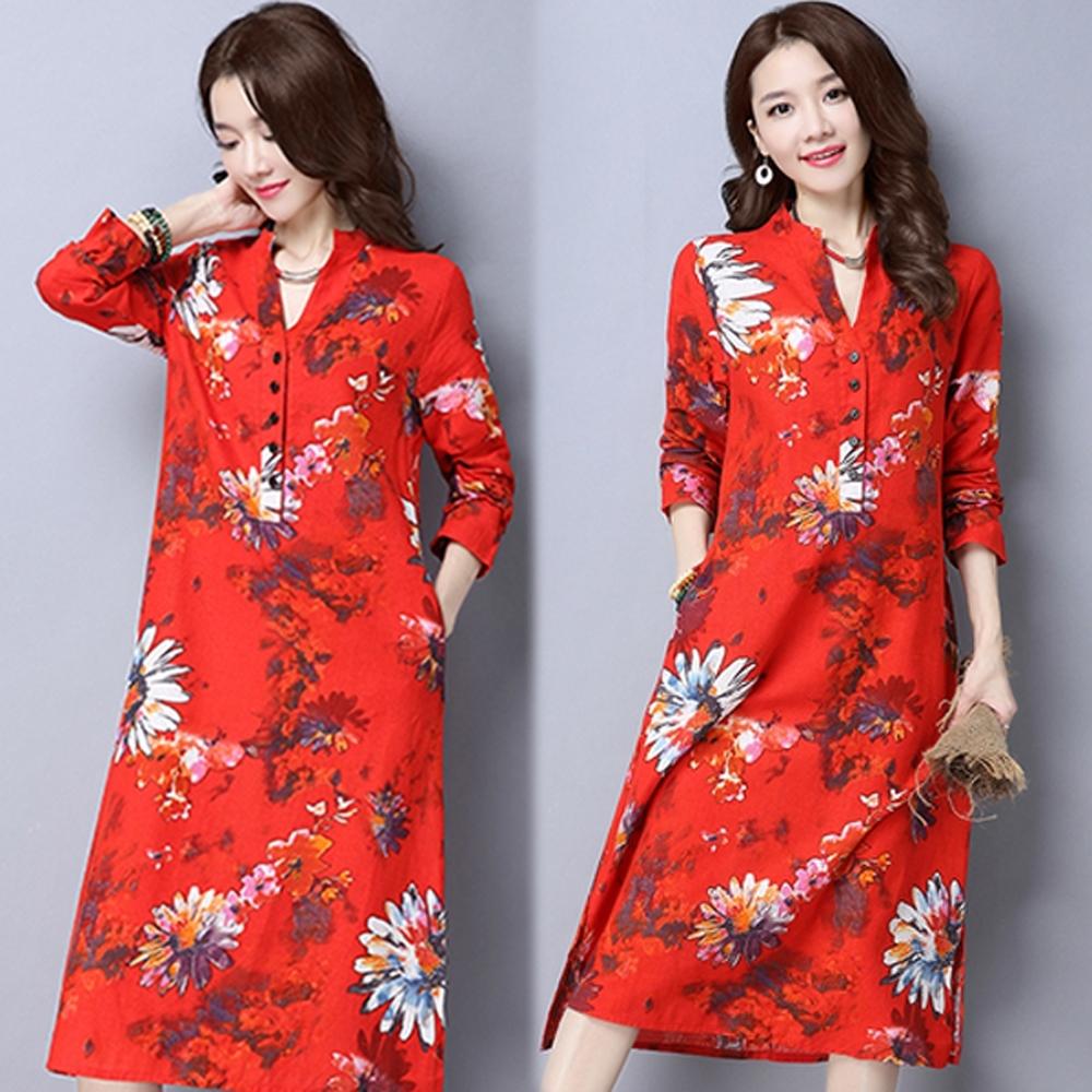 【韓國K.W.】(預購)中國風印花開衩過膝旗袍洋裝-3色