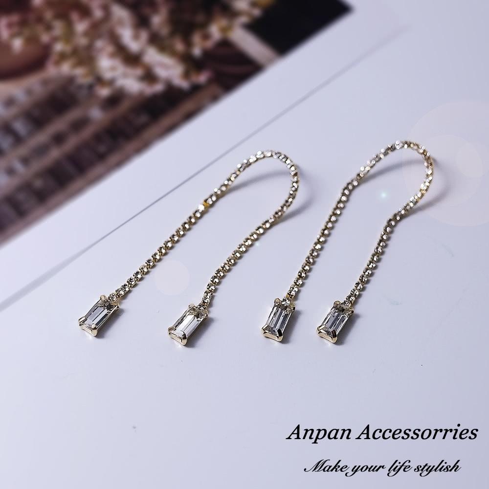 【ANPAN愛扮】韓東大門復古水晶微鑽流蘇925銀針耳釘式耳環-金色