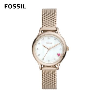 (領券再折300) FOSSIL Laney 鑲鑽愛心經典女錶-多品任選