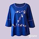 gozo 打字機文字印花七分袖上衣(二色)