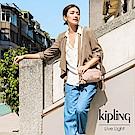 Kipling 復古蜜桃粉色雙拉鍊方形側背腰包-AKPA