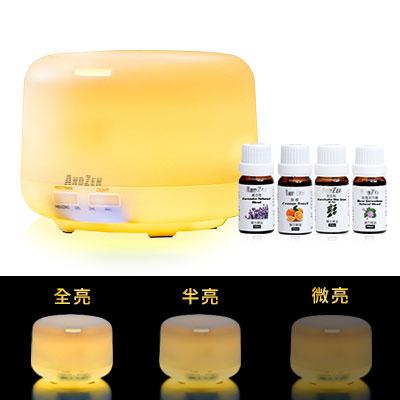 ANDZEN日系風格超音波水氧機(AZ-2600Y暖黃燈)+澳洲單方純精油10ml x 4瓶
