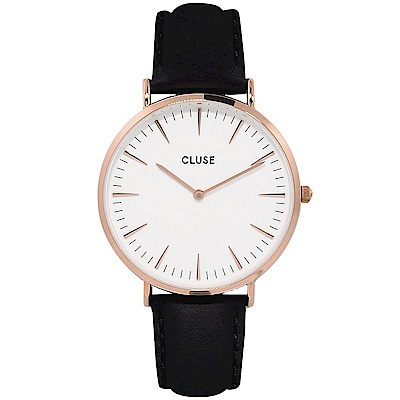 CLUSE 波西米亞玫瑰金系列 白錶盤/黑皮革錶帶手錶 38mm