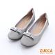 ZUCCA-圓頭金屬朵結氣墊平底鞋-灰-z6512gy product thumbnail 1