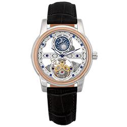 Valentino Coupeau 范倫鐵諾 古柏 日月相鏤雕機械腕錶 (半玫瑰金/黑帶)