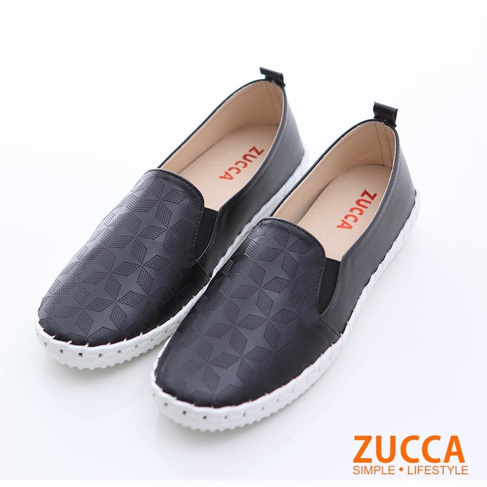 ZUCCA-菱格紋平底休閒鞋-黑-z6511bk