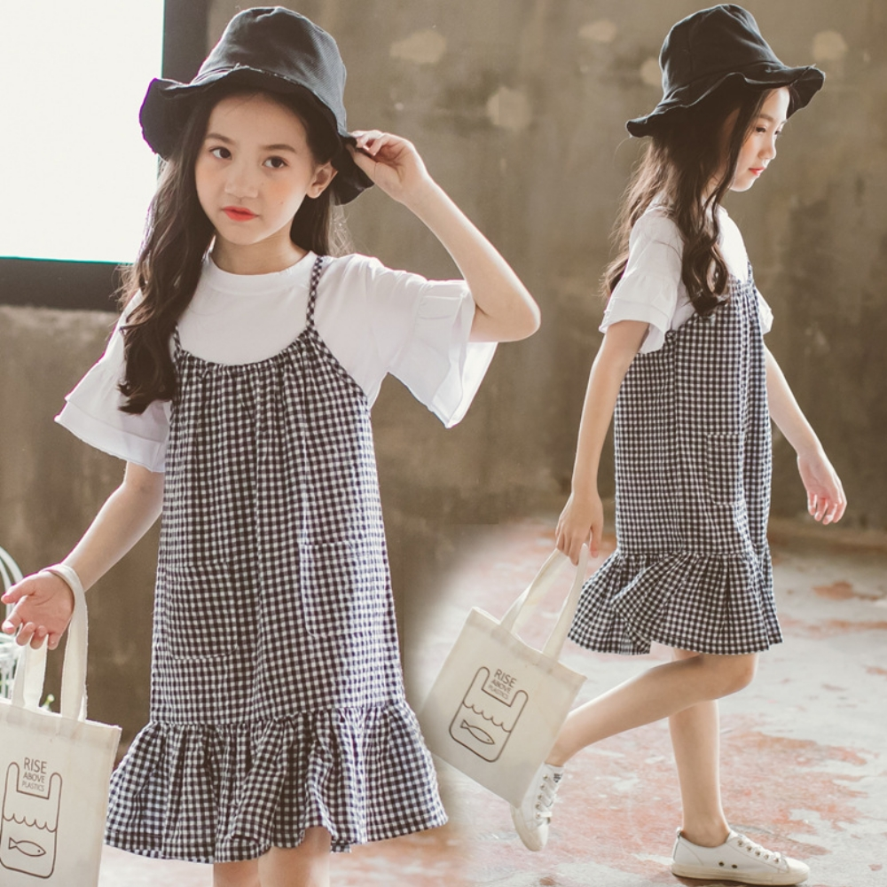 小衣衫童裝  中大童夏季白上衣搭格子吊帶裙二件套1080418