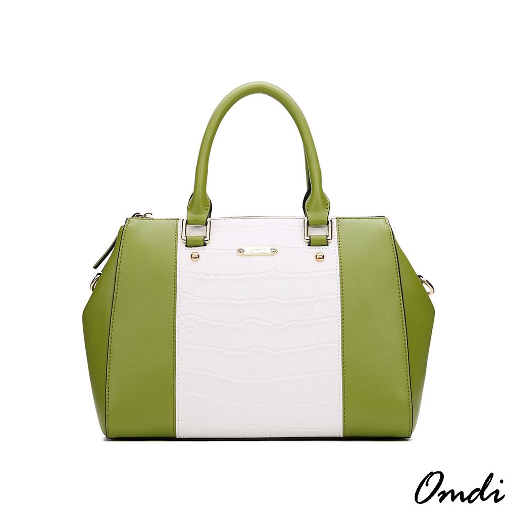 Omdi 拚色粉嫩淑女手提包(綠白色)