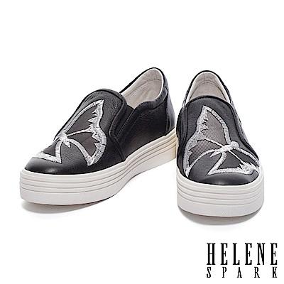休閒鞋HELENE SPARK浪漫蝴蝶電繡造型紗網拼接牛皮厚底休閒鞋-黑