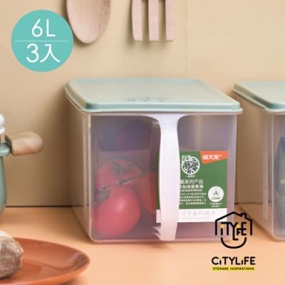 新加坡CITYLIFE 奈米抗菌PP提把式雜糧穀物保鮮盒-6L-3入