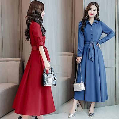 DABI 韓國風復古純色修身收腰顯瘦紐扣長袖洋裝