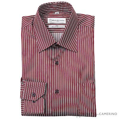 ROBERTA諾貝達 台灣製 商務型男 純棉條紋長袖襯衫  暗紅