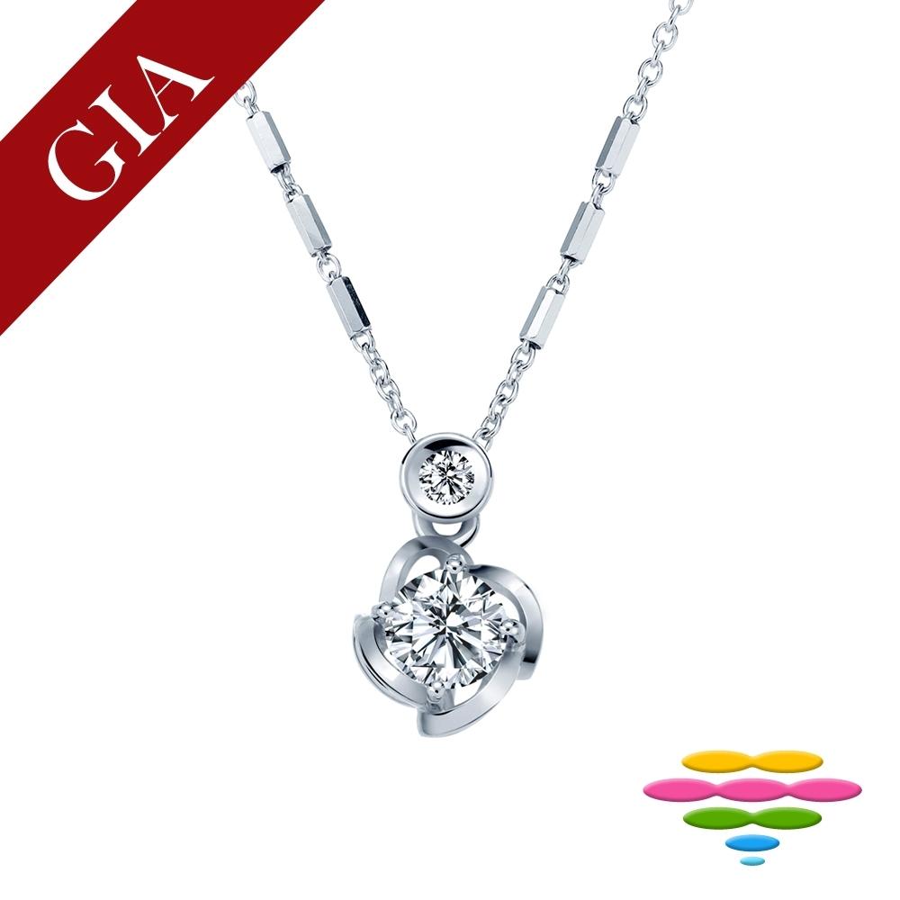 彩糖 GIA 30分 F/SI2 鑽石 3EX+八心八箭車工 玫瑰花鑽石項鍊
