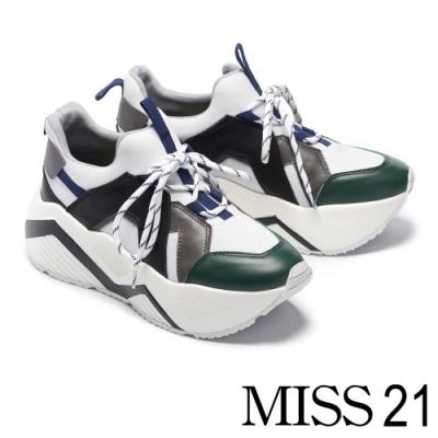 休閒鞋 MISS 21 復古搶眼拼接超厚底休閒鞋-白