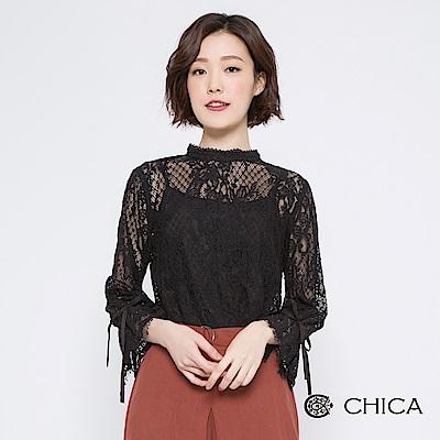 CHICA 古典美小立領透膚蕾絲上衣(附背心)(<b>2</b>色)