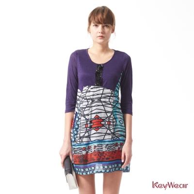 KeyWear奇威名品    舒適透氣絲棉拼接麻素材洋裝-綜合色