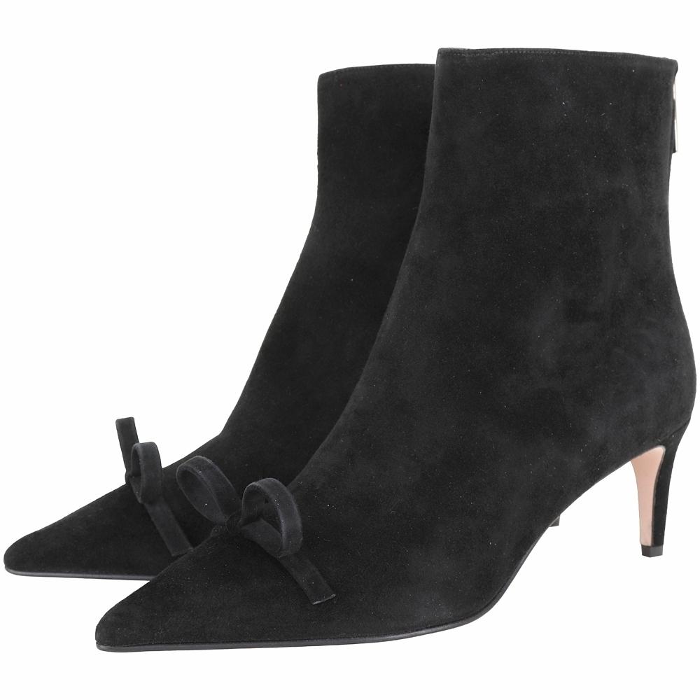 RED VALENTINO SANDIE 蝴蝶結麂皮尖頭短靴(黑色)