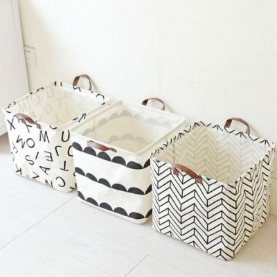 2入 北歐簡約棉麻收納籃 整理籃 收納筒 衣物玩具