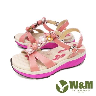 W&M(女) 珠花交叉帶厚底氣墊涼鞋 女鞋-粉(另有紫)