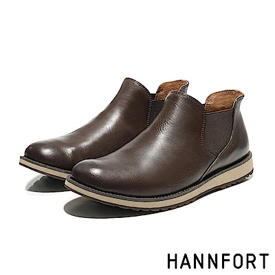 HANNFORT CANYON牛皮紳士氣墊短靴-男-質感棕