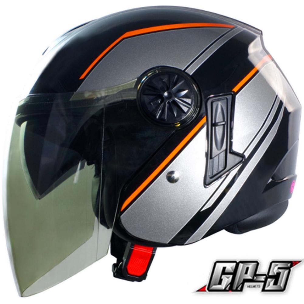 【GP-5】簡約 安全帽 雙鏡片│導流通風設計│機車│內襯│開放式安全帽│內墨鏡 (黑灰)