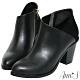Ann'S一樣很瘦-側V異材質拼接美型粗跟短靴-黑 product thumbnail 1