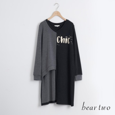 bear two- 長版針織上衣 - 黑