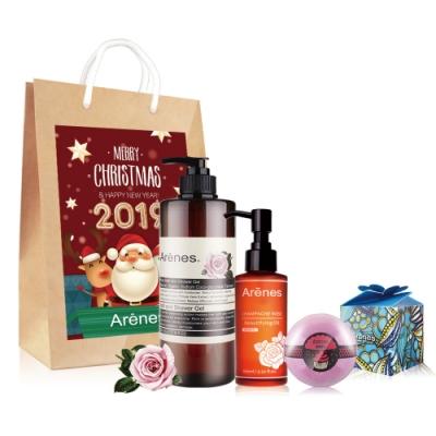 Arenes愛戀玫瑰聖誕禮袋(玫沐+玫瑰身體油+玫瑰球+聖誕小提袋)