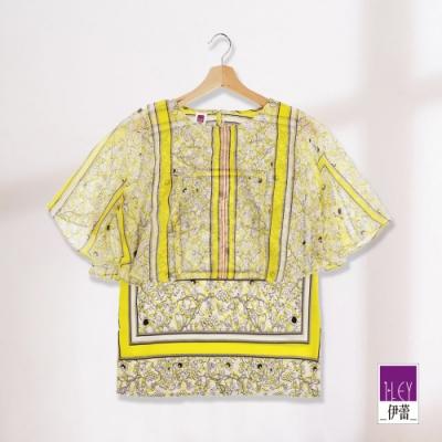 ILEY伊蕾 絲巾圖騰雪紡層次上衣(藍/黃)