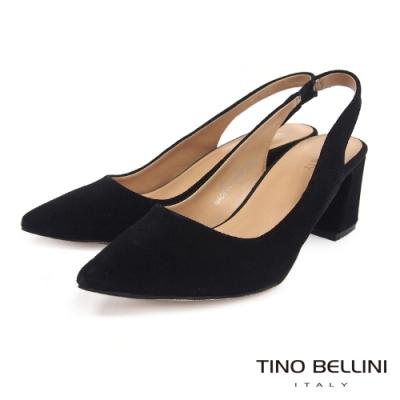 Tino Bellini 秋意絨感牛麂皮後拉帶高跟鞋 _黑
