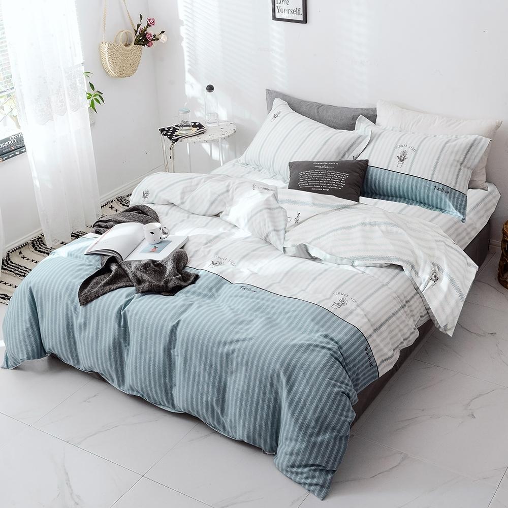 A-ONE 100%純棉-清新E系列-加大床包/枕套組-花漾小舖