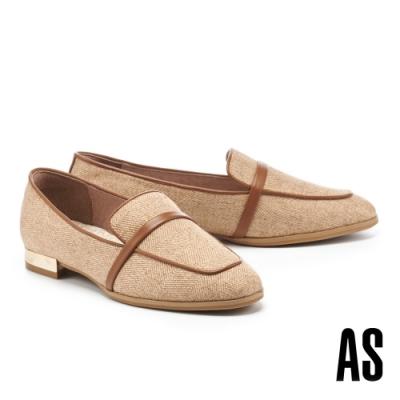 低跟鞋 AS 時髦雅痞異材質拼接羊皮方頭樂福低跟鞋-棕