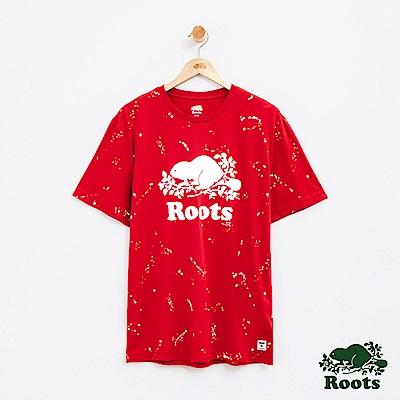 男裝Roots 庫柏潑墨短袖T恤-紅色