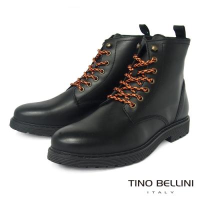 TINO BELLINI 葡萄牙進口牛皮個性綁帶黑軍靴