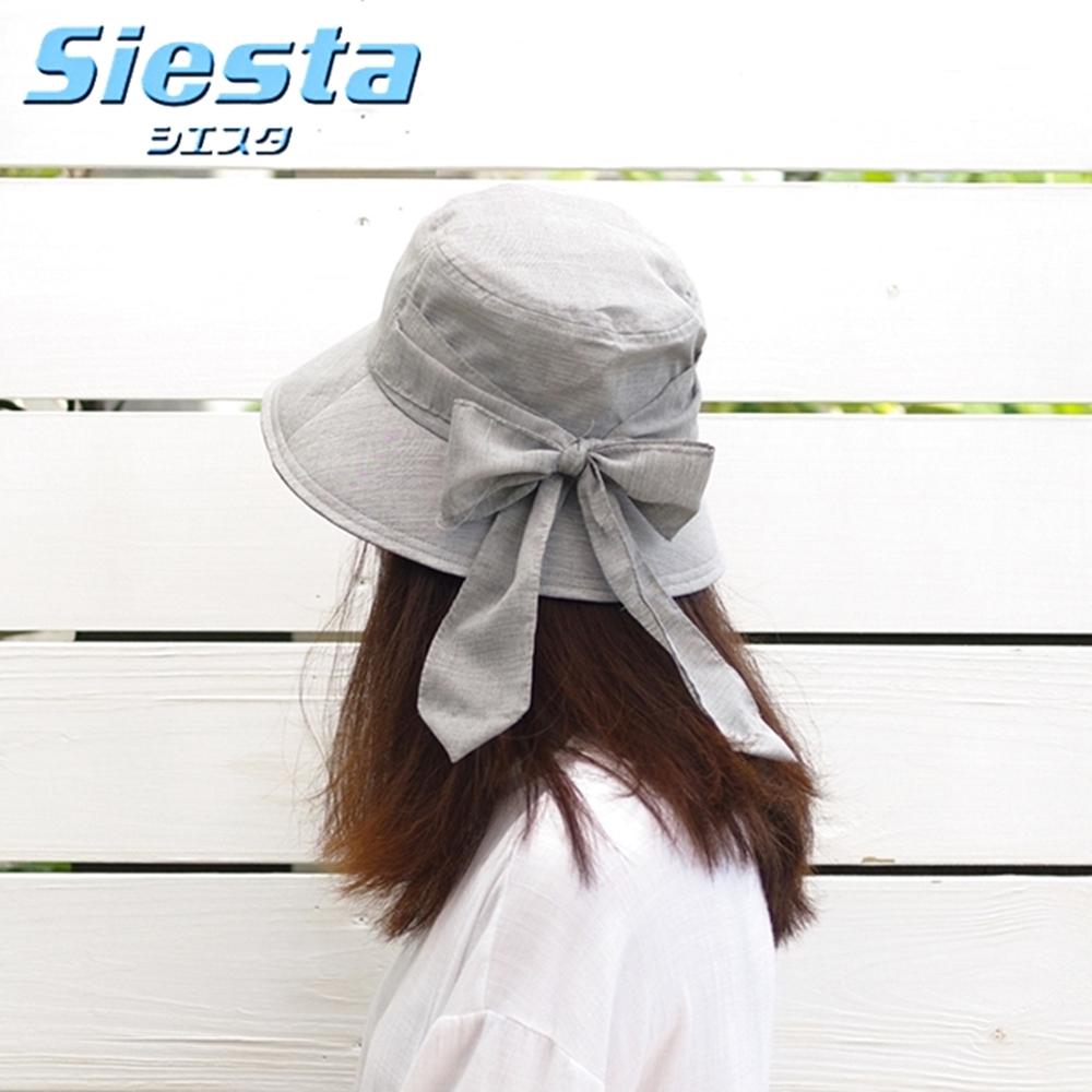 日本製造製Siesta UV對策後簾大蝴蝶結防曬帽淑女帽130881(抗紫外線;透氣吸濕速乾)