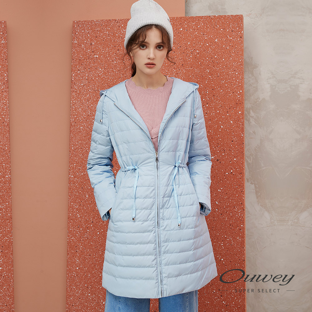 OUWEY歐薇 保暖羽絨連帽外套(藍)