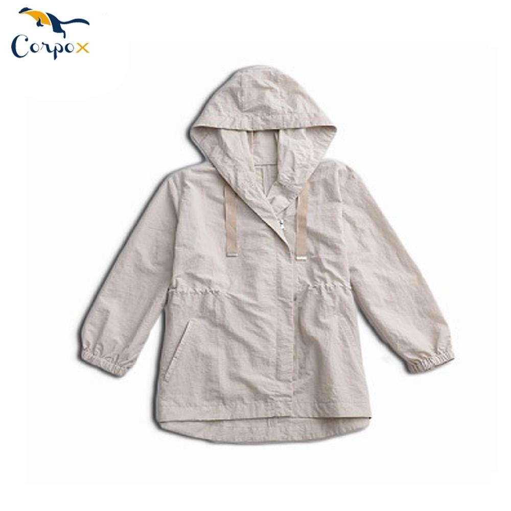 CorpoX-女款薄風衣外套-米白